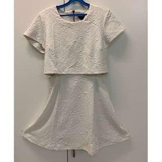 Topshop White Cut-off Sleeved Dress