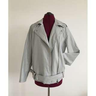 OAK + FORT - Light Grey Biker Jacket (O/S)