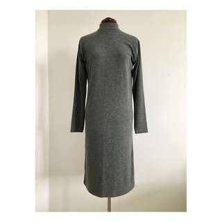 OAK + FORT - Grey Mock Neck Long-Sleeve Dress (O/S)