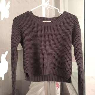 dark grey cropped knit sweater