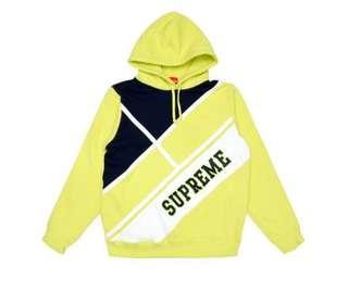 🚚 Supreme Diagonal Hooded Sweatshirt 黃色 帽TEE