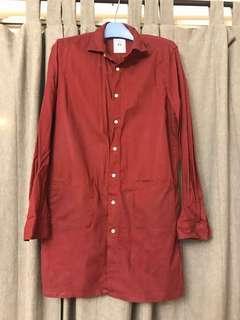 棗紅色日本長身恤衫 可當外套穿着