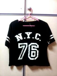 NYC New York City Baseball Crop Shirt Top
