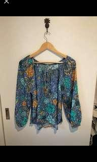 Arnhem Sinta Marine blouse top size 10 EUC