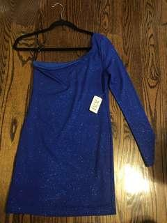 Blue One-Shoulder Sparkly Dress - Tags on.