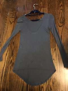 Grey Long, Low-Back Shirt - Size S