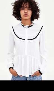 Zara peplum white blouse