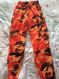 orange camo jogger pants