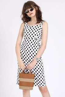Supergurl Polka Dots Midi Dress in White