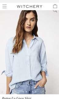RRP $119.99 Witchery Organic Linen Blue Chambray style blouse