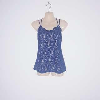 Sexy Navy Blue Lace Singet Top - OASIS - Size S