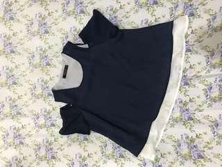 Dark Blue Cutout Top