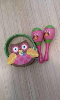 maracas toy and tambourine wooden music equiment