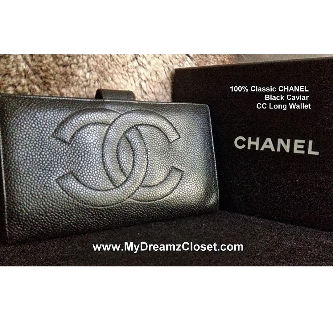 100% CHANEL Black Caviar Long Wallet