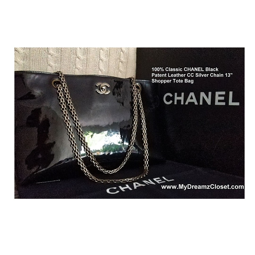 "100% Classic CHANEL Black Patent Leather CC Silver Chain 13"" Shopper Tote Bag"