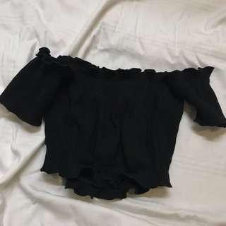 BLACK RIBBED CROPPED OFF SHOULDER TEE SHIRT TOP