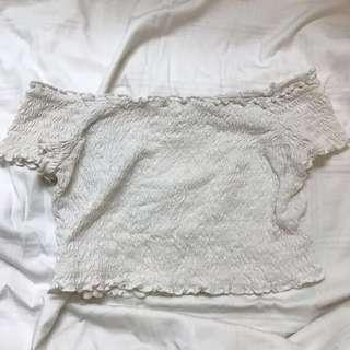 H&M WHITE OFF SHOULDER TEE SHIRT TOP