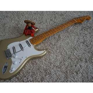 """SX Stratocaster Electric Guitar with Lipstick Pickups (""""Goldfinger"""")"""
