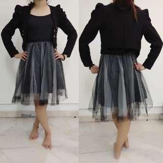 Black Tutu Dress + black coat