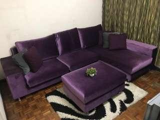L Shape Sofa purple
