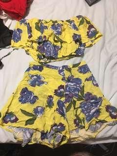 Floral Set (Off the shoulder top / high waisted shorts)