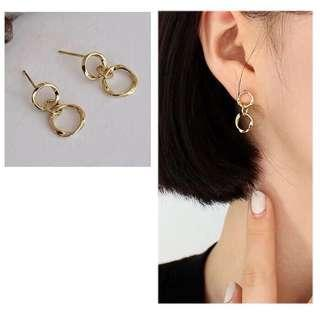 [NEW] Korean Style Round Circle Gold Plated Earring Jewelry Accessories Gift Women Earrings