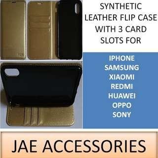 Y2K Synthetic LeatherFlipCase 3CardSlots 4 Iphone Samsung et