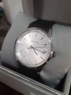 Calvin Klein Bold White Dial Black Leather Mens Watch