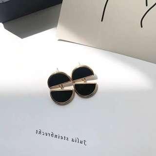 [NEW] Korean Black Gold Colour Stud Earring Jewelry Gift Accessories Women Earrings Workwear