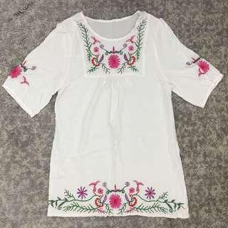 Embroidered White Top