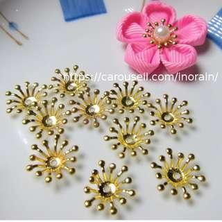 Japan Tsumami Kanzashi Flower Craft Supply - Brass Stamen & Beads