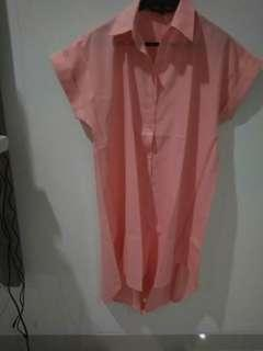 Dress kemeja Peach big size/ dress hamil