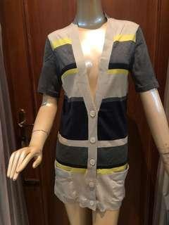 THEORY Cardigan Dress Stripes