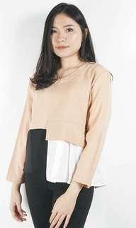FREEONGKIR blouse kekinian layer top brown white black