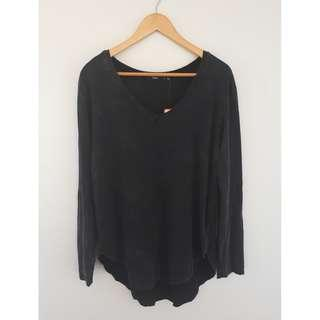 Sportsgirl Dropped Hem Top, Washed Black, Size S
