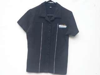 RARE Pixar Monsters Inc Disney Black Bowling Shirt S/XS