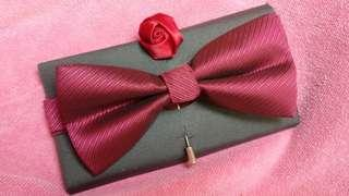 Bow Tie and Rose Pin (Wine red colour)