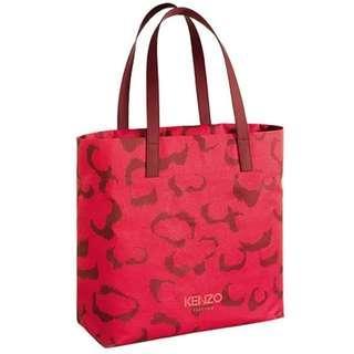 Kenzo Red vegetal print tote bag