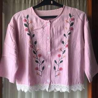 Embroidery Pink Top