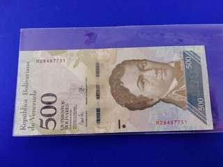 Venezuela 500 Bolivar note.