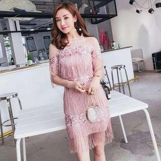 Free delivery- Elegant dusty pink fringe dress