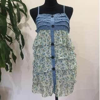 BRAND NEW Japanese Denim x Chiffon Layered Dress (FROM JAPAN)