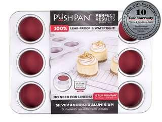 PushPan 12 Cup Muffin Pan - Anodised Aluminium