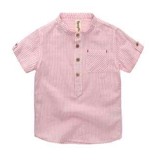 🚚 TZ040 Boys Mandarin Collar Pink Striped Top Shirt