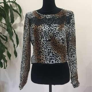 BRAND NEW Leopard & Lace Print Long Sleeve Blouse Top
