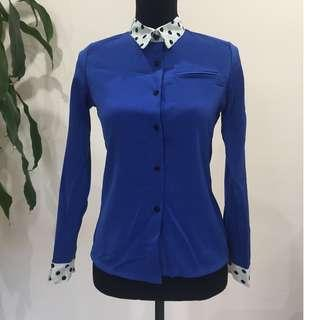 BRAND NEW Polka Dot & Royal Blue Long Sleeve Shirt (FROM JAPAN)