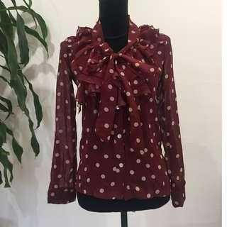 BRAND NEW Vintage Retro Look Polka Dot Chiffon Shirt (FROM JAPAN)
