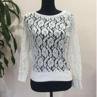 BRAND NEW White Lace Long Sleeve Jumper