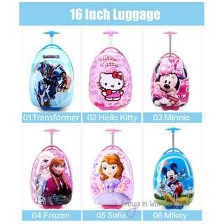 🚚 12 Designs! 16 Inch Kids Luggage Disney Cartoon Cute School Bag Suitcase Gift Idea