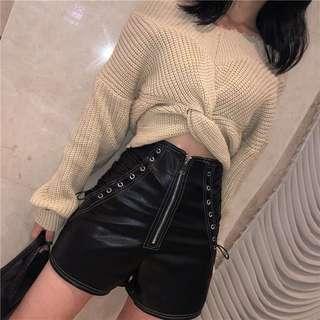 🚚 [PO] Side Lace Up PU Leather Shorts